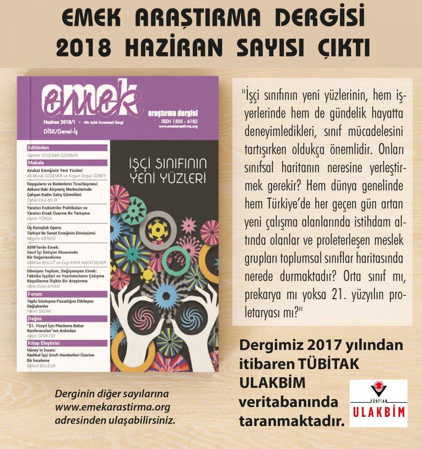 EMEK Araştırma Dergisi Haziran 2018/1 Sayısı Çıktı