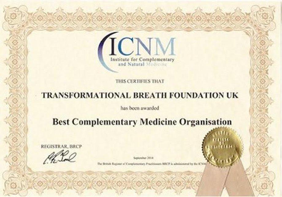 """Transformal Nefes®, İngiltere'de en iyi """"TAMAMLAYICI TIP ORGANİZASYONU"""" ödülüne layık görüldü!"""