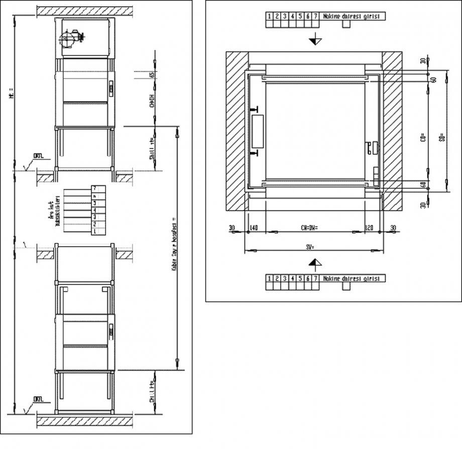Sınıf V - Monşarj Asansörleri Ölçü ve Boyut Tablosu