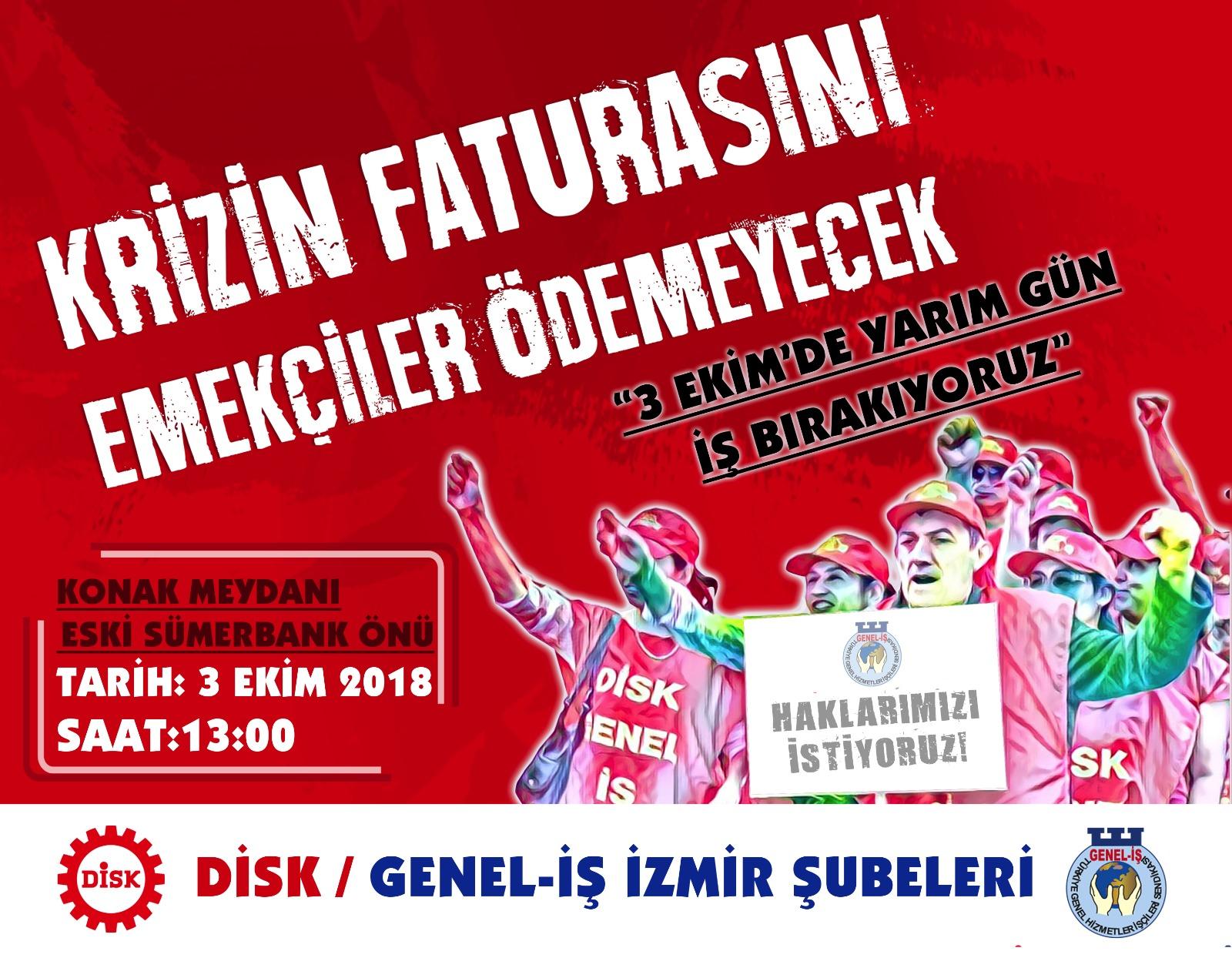 Genel-İş İzmir Şubeleri 3 Ekim'de Uyaracak!