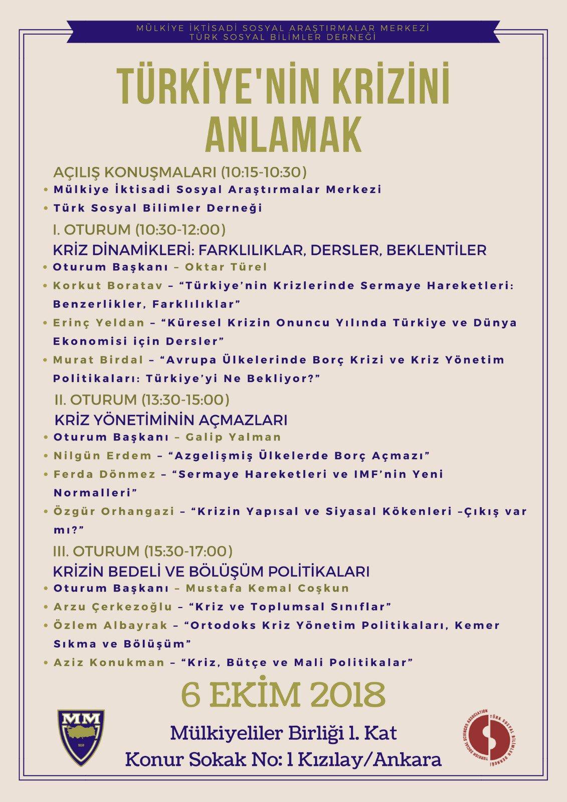 Türkiye'nin Krizini Anlamak Sempozyumu Duyurusu