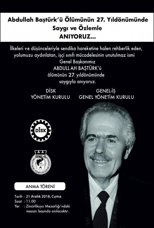 Kurucu Genel Başkanımız Abdullah Baştürk'ü Anma Programı