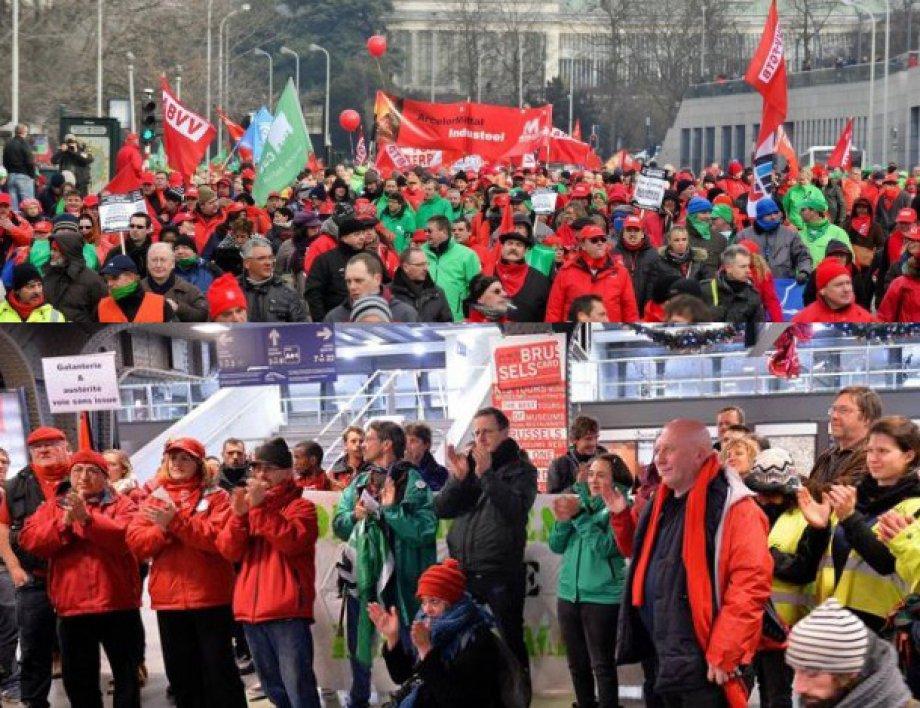 Belçika'da İşçiler Hayatı Durdurdu