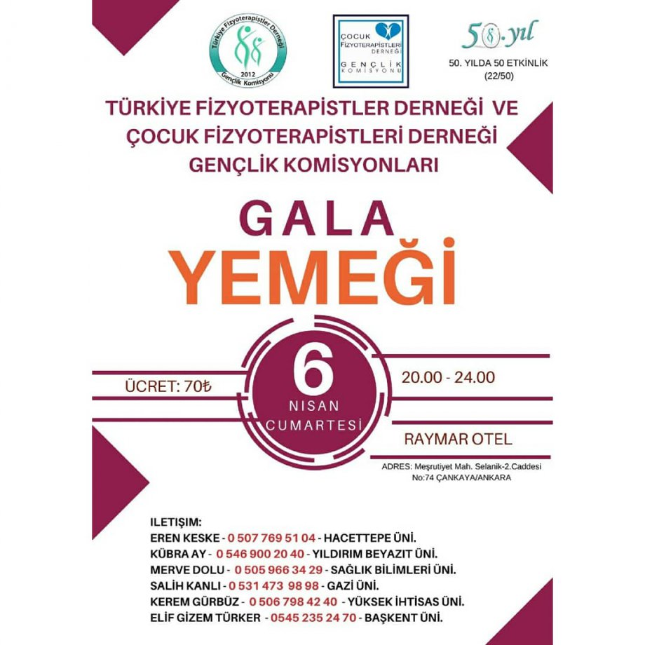 Türkiye Fizyoterapistler Derneği ve Çocuk Fizyoterapistleri Derneği Gala Yemeği (6 Nisan 2019)