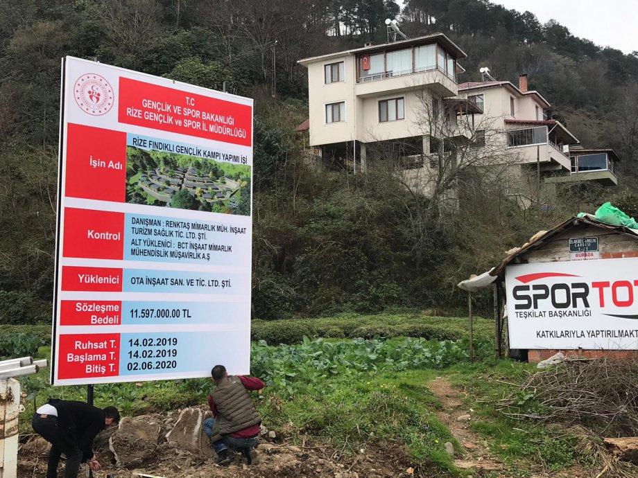 Gençlik Ve Spor Bakanlığı -Rize Fındıklı Gençlik Kampı Yapım İşi