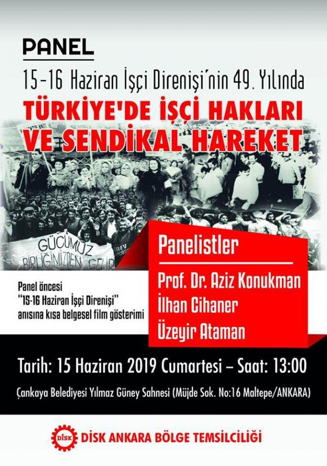 DİSK Ankara Bölge Temsilciliği'nin 15-16 Haziran İşçi Direnişinin 49.Yıldönümü Etkinlikleri