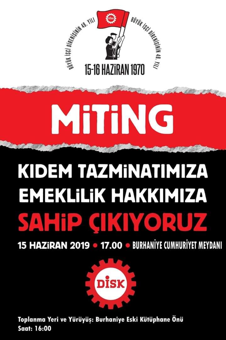 15-16 Haziran İşçi Direnişinin 49. Yıldönümünde Burhaniye'de Miting, Gaziantep'te Basın Açıklaması