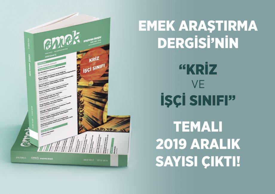 EMEK Araştırma Dergisi Aralık 2019/2 Sayısı Çıktı