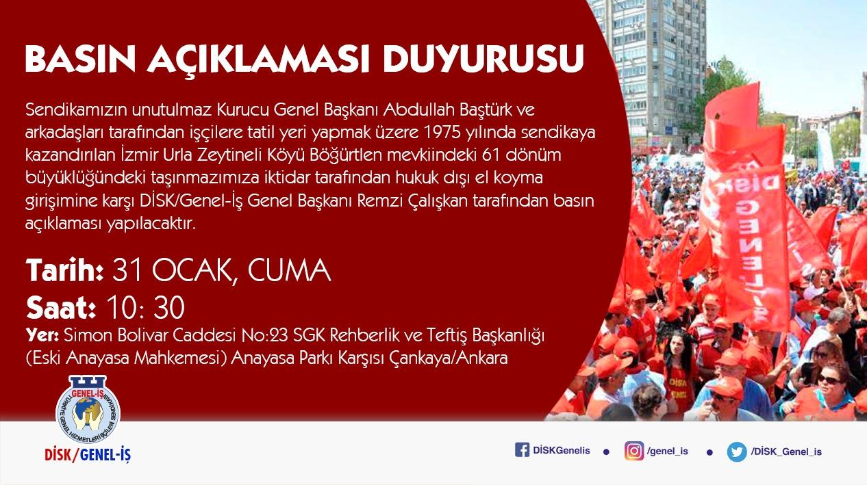 İzmir Urla'daki Arazimizin Acele Kamulaştırılma Kararına İlişkin Basın Açıklaması Duyurusu