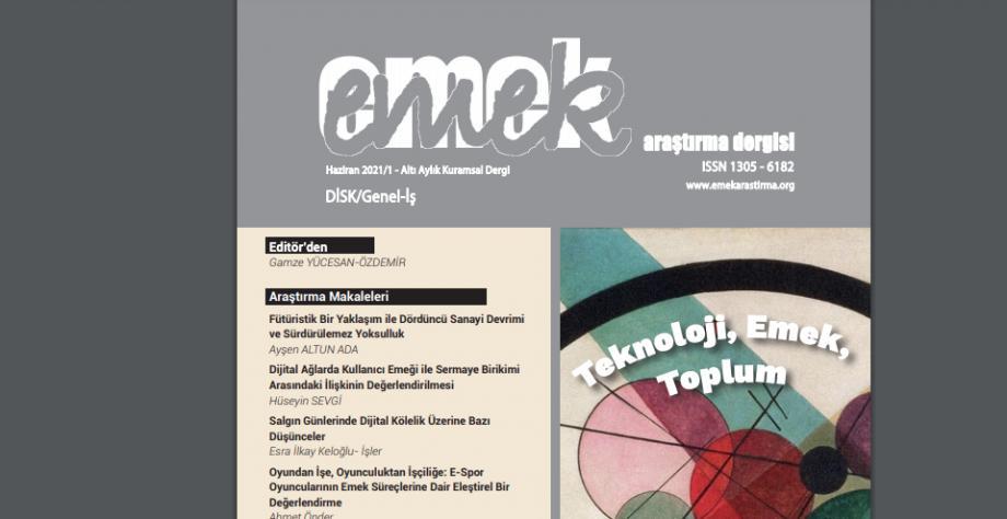 EMEK Araştırma Dergisi ''Teknoloji, Emek, Toplum'' Temalı Haziran Sayısı