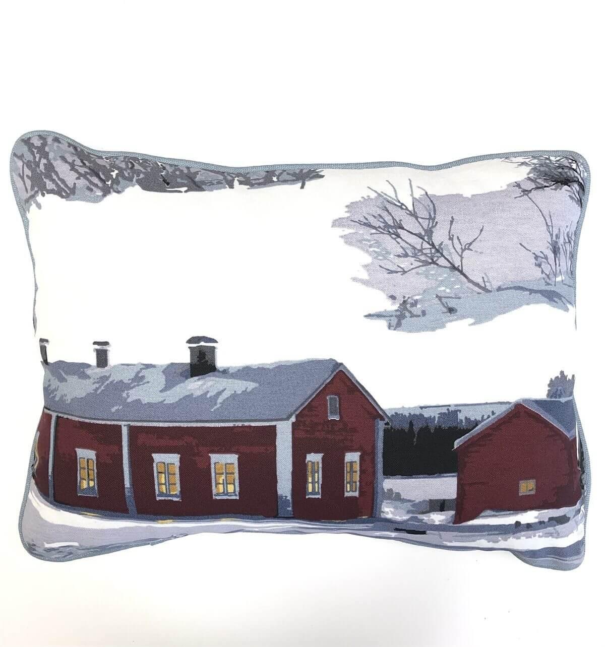 Kış Teması Desenli Biyeli Yastık