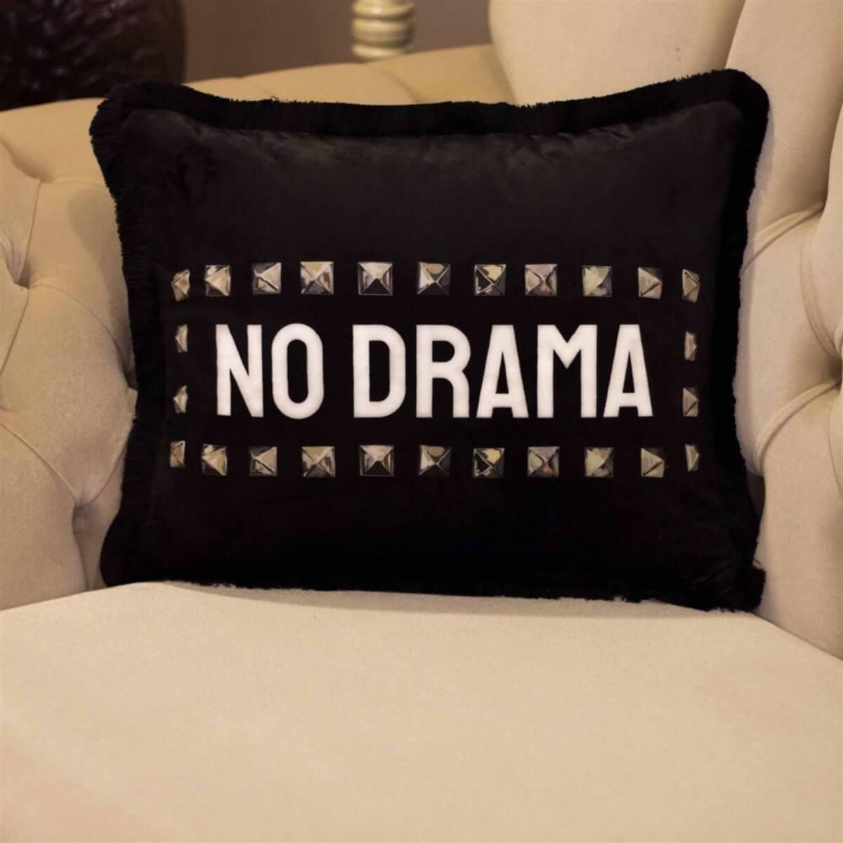 No Drama Temalı Dekoratif Kırlent