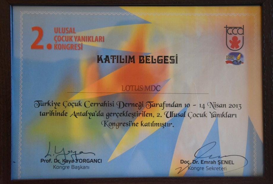 2. Ulusal Çocuk Yanıkları Kongresi / 10-14 Nisan 2013, Antalya
